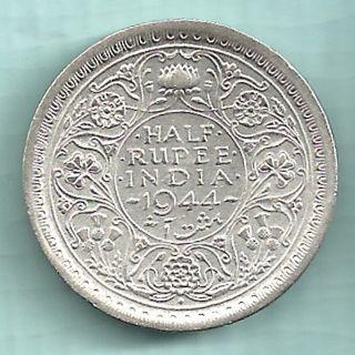 British India - 1944 - King George Vi Emperor - Half Rupee - Rare Silver Coin photo