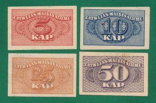 Latvia,  5 - 10 - 25 - 50 Kapeikas 1920 P - 9,  10,  11,  12 Vf - Xf photo