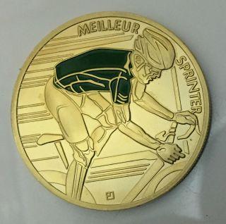 1 Oz Champion Meilleur Sprinter Le De Tour France 100 Finished In 24k Gold Coin photo