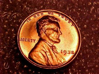1935 Lincoln Cent With Awesome Full Red Uncirculated photo