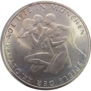 Germany - 10 Mark 1972 F (munich Olympics) Silver Coin - Km 132 photo
