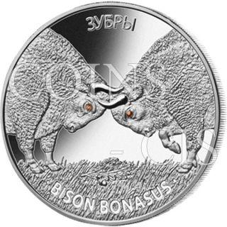 Belarus 2012 20 Rubles Bison Bonasus European Bisons Proof Silver Coin photo