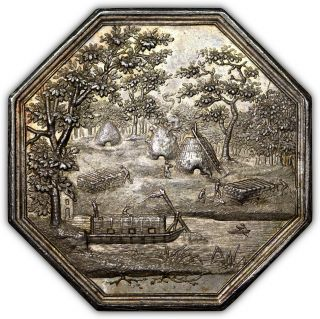 (c.  1805) France Silver Jeton,  Ornate Obverse Scene,  Unc,  Beautifully Toned photo