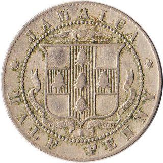 1920 Jamaica (british) 1/2 Penny Coin George V Km 25 Mintage 480,  000 photo