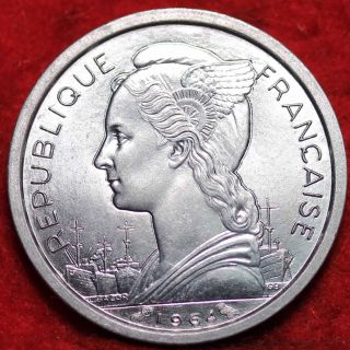 Uncirculated 1964 Reunion Franc Aluminum Foreign Coin S/h photo