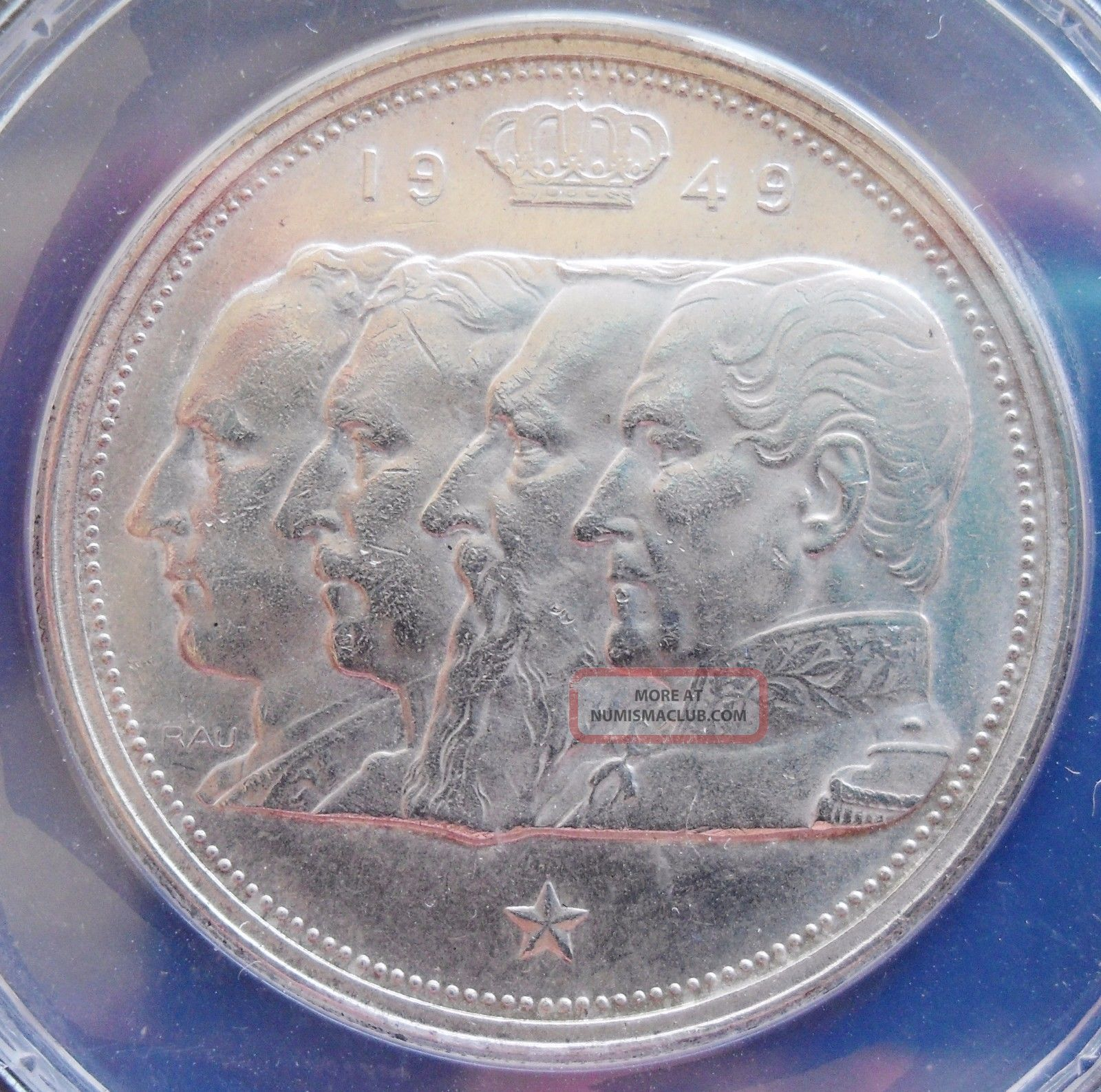 1949 Belgium 100 Fr. ,  Anacs Ms 62,  Silver Coin Europe photo