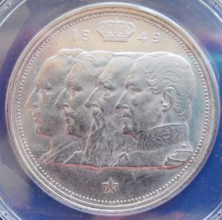 1949 Belgium 100 Fr. ,  Anacs Ms 62,  Silver Coin photo