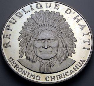 Haiti 10 Gourdes 1971 Ic Proof - Silver - Geronimo Chiricahua - 2184 猫 photo