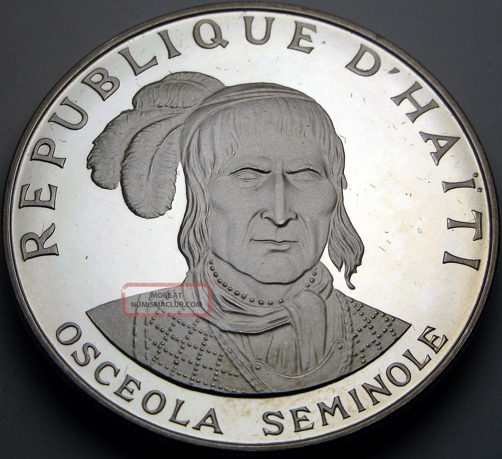 Haiti 10 Gourdes 1971 Ic Proof Silver Osceola Seminole