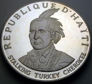 Haiti 10 Gourdes 1971 Ic Proof - Silver - Stalking Turkey Cherokee - 2186 猫 photo