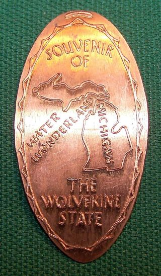 Lpe - 242: Vintage Elongated Cent: Souvenir Of Michigan / The Wolverine State photo