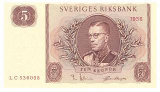 Sweden 5 Kronor 1956 Unc photo