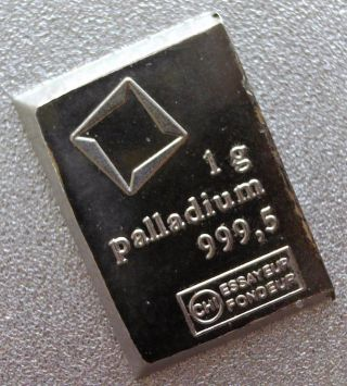 Valcambi Suisse 1 Gram.  9995 Palladium Bar Switzerland Fractional Combibar photo