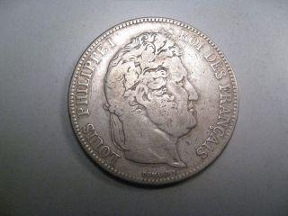 1834 - A Silver 5 Francs.  Paris France.  Louis Philippe I. photo