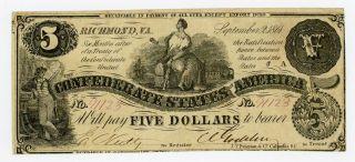 1861 T - 36 $5 The Confederate States Of America Note - Civil War Era photo