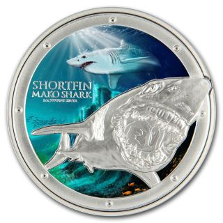 2016 Niue Ocean Predators - Mako Shark 1 Oz Silver Coin Nz photo