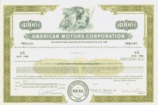American Motors Corporation 6 1974 Vintage Debenture Certificate (canceled) photo