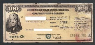 $100 Dollar United States Savings Bond Eisenhower Series Ee Standard Oil 1983 Ca photo