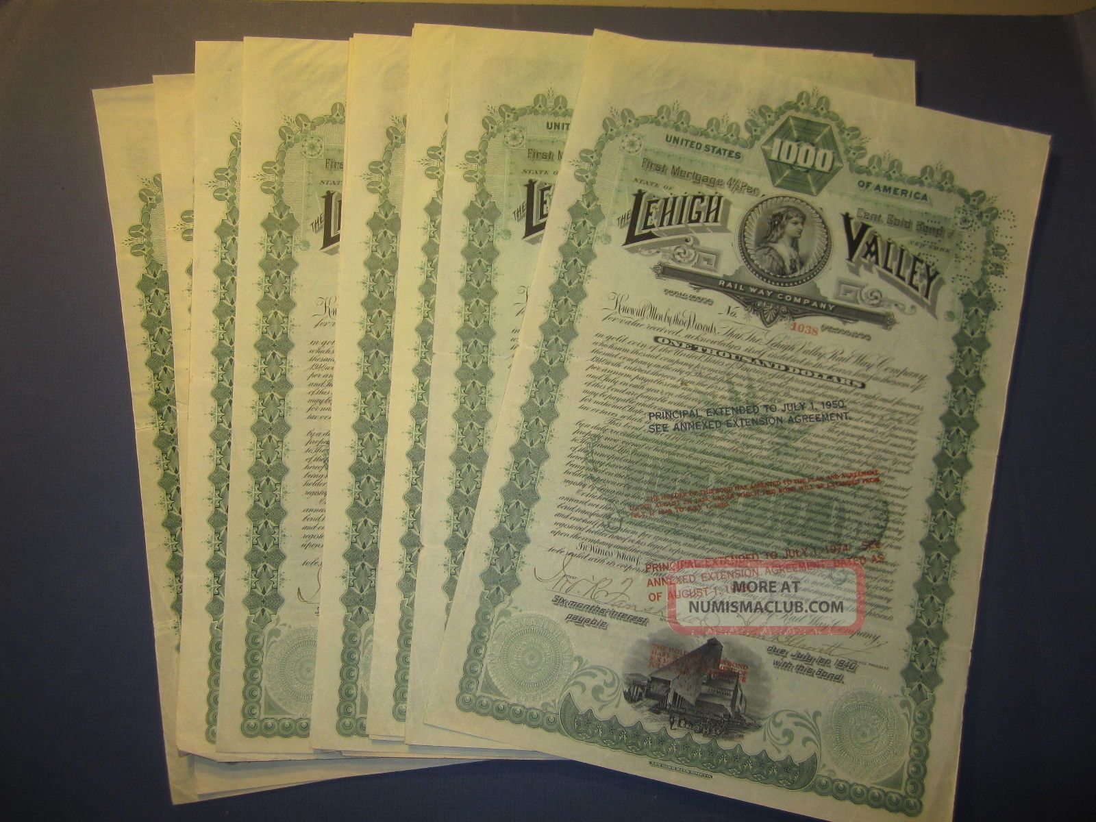 Of 10 1890 Lehigh Valley Railway - Ralroad Gold Bond Certificates Transportation photo