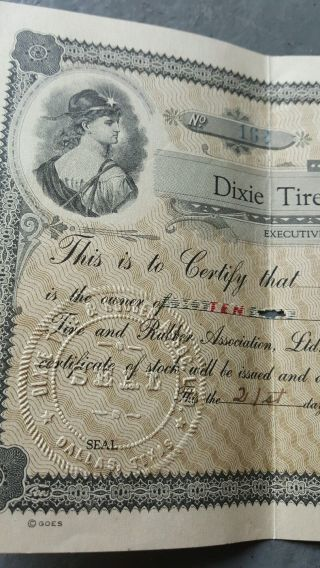 Rare 1920 Dixie Tire & Rubber Association Interim Stock Certificate,  Dallas,  Texas photo