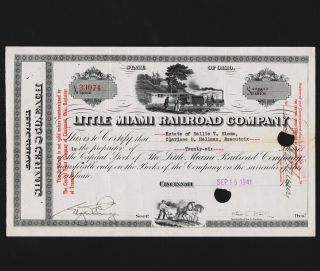 1941 Little Miami Rr Co.  Stock Certificate 26 Shares photo