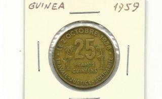 Guinea 1959 25 Francs Coin photo
