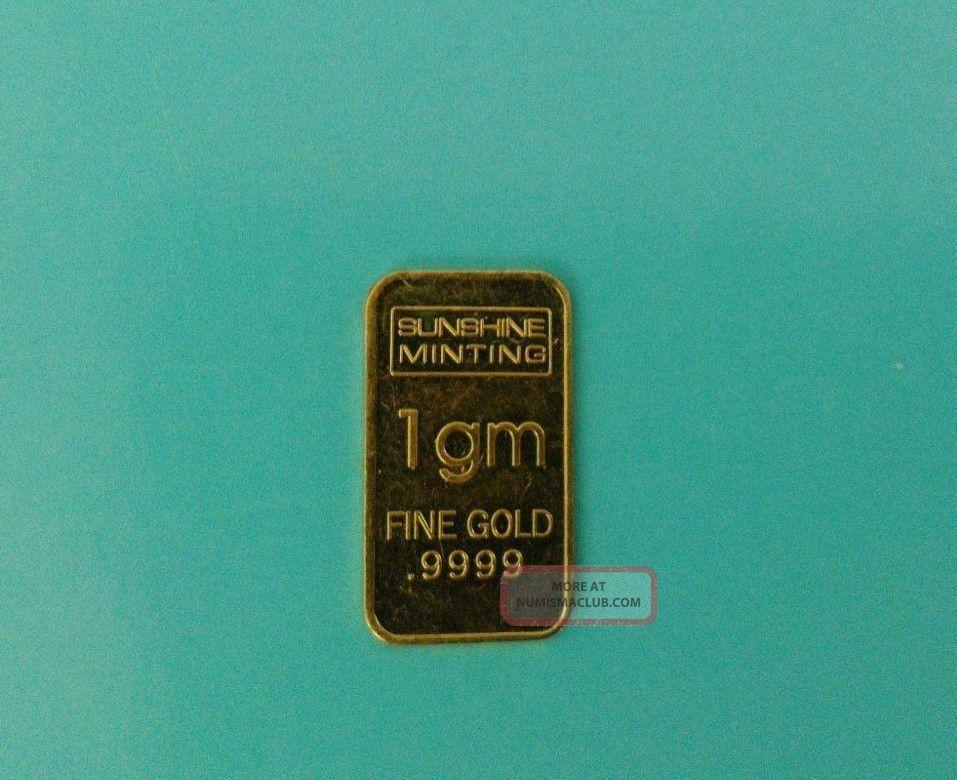 Sunshine Minting 1gm Fine Gold 9999 Bar Yellow Gold 1