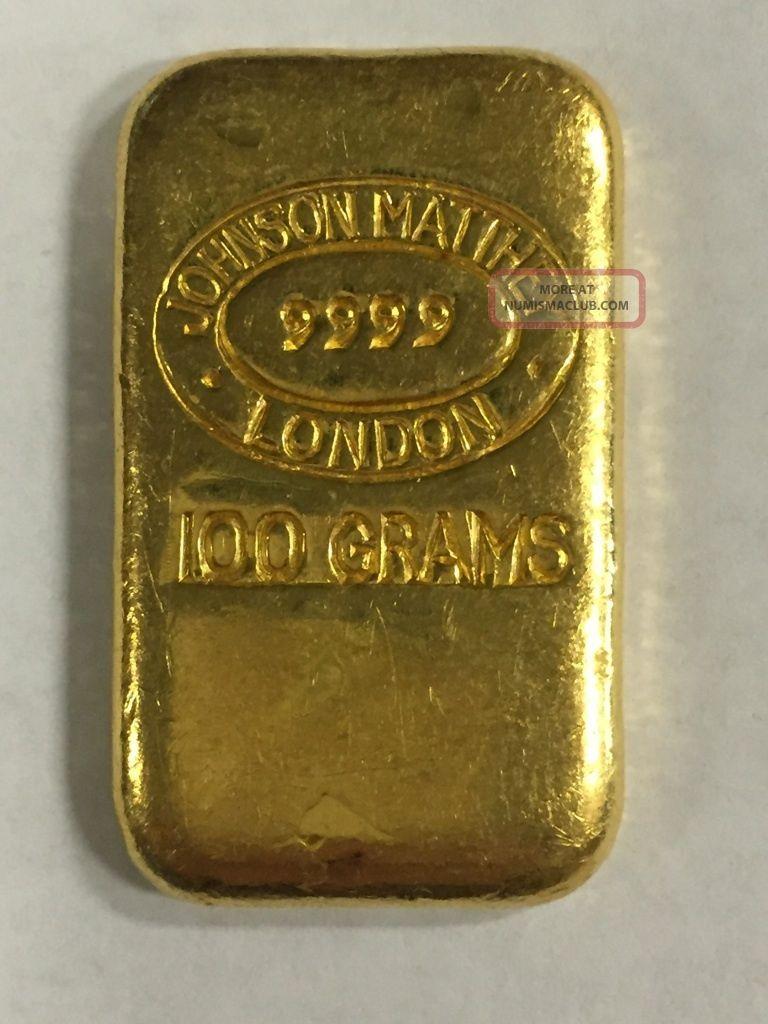 Vintage Johnson Matthey London 100 Gram 24kt Gold Pour