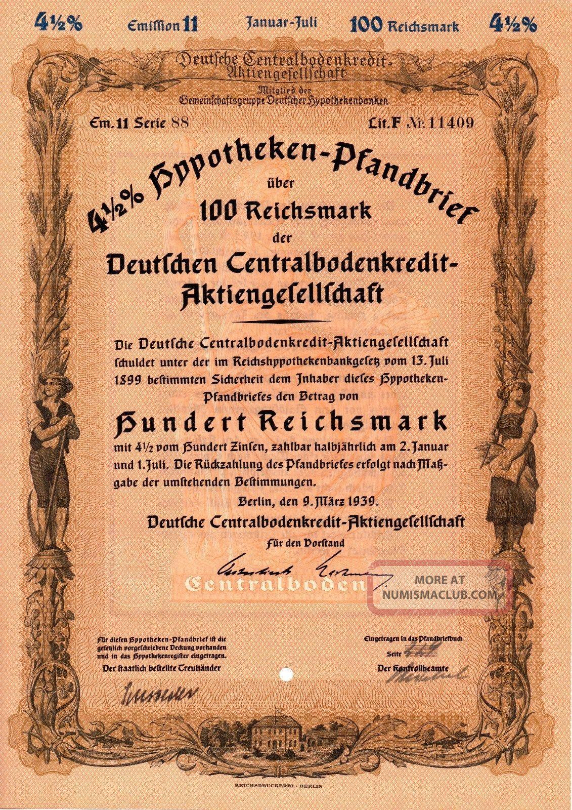 Germany,  1939,  4,  5 Mortgage Bond 5 Things 100 - 2000 Reichsmark World photo