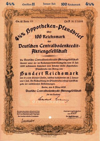 Germany,  1939,  4,  5 Mortgage Bond 5 Things 100 - 2000 Reichsmark photo