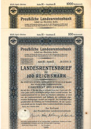 Germany,  Prussia,  1939,  4,  5 Rental Bond 2 Things 100,  1000 Reichsmark photo