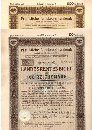 Germany,  Prussia,  1940,  4,  5 Rental Bond 2 Things 100,  1000 Reichsmark photo