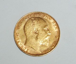 1902 Great Britain Half 1/2 Sovereign Gold Coin photo