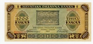 Croatia … P - 12 … 1,  000 Kuna … 1943 … Au - Unc photo