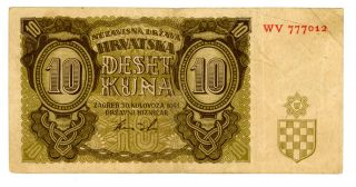 Croatia.  P - 5.  10 Kuna.  1941.  F, photo