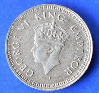 Silver 1944 India - British 1/4 Rupee Km 547 George Vi Toned Bb 51 photo
