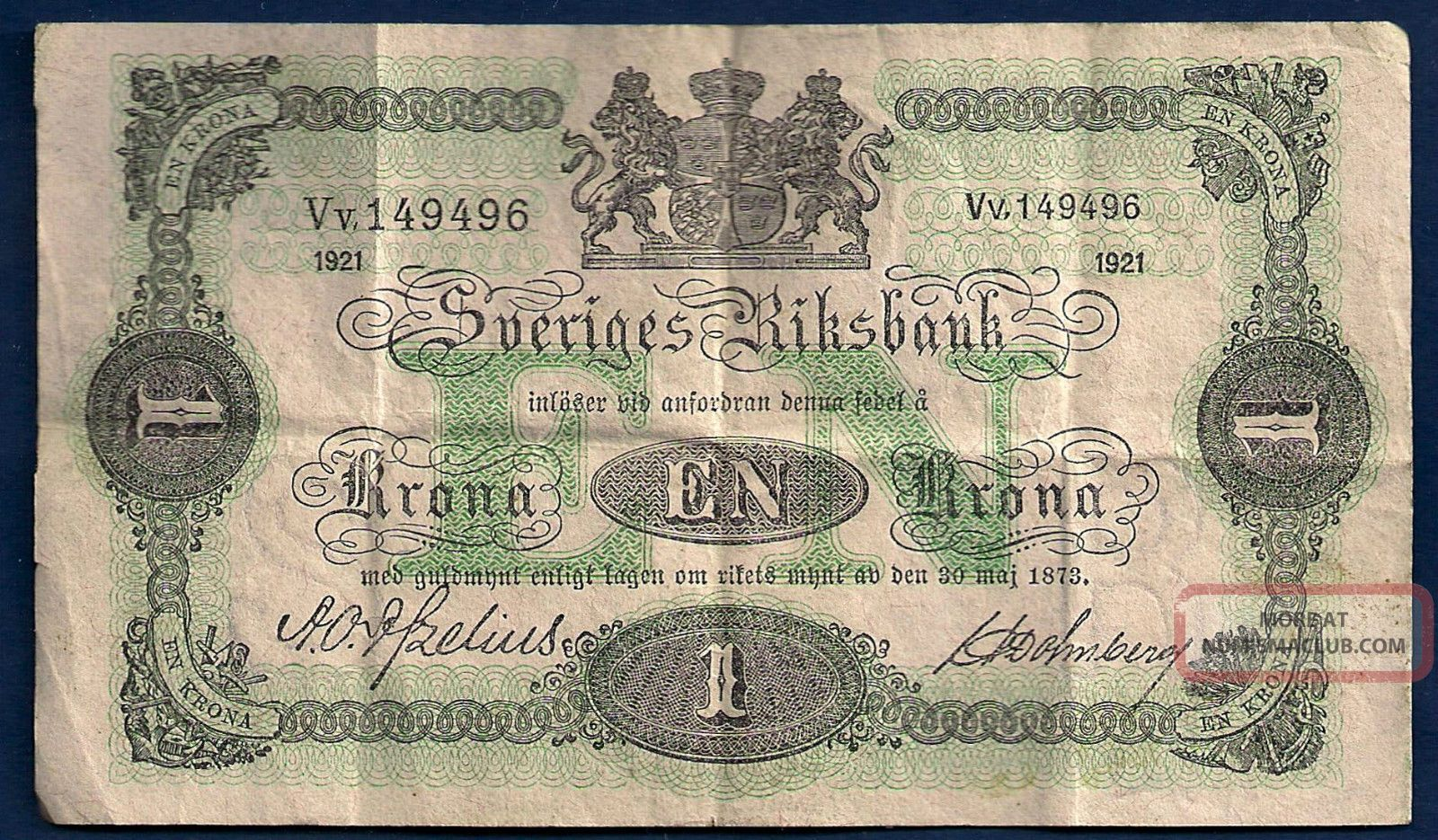 Sweden 1 Krona 1921 P - 32h Vintage Sveriges Riksbank Swedish Note Europe photo