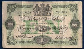 Sweden 1 Krona 1921 P - 32h Vintage Sveriges Riksbank Swedish Note photo