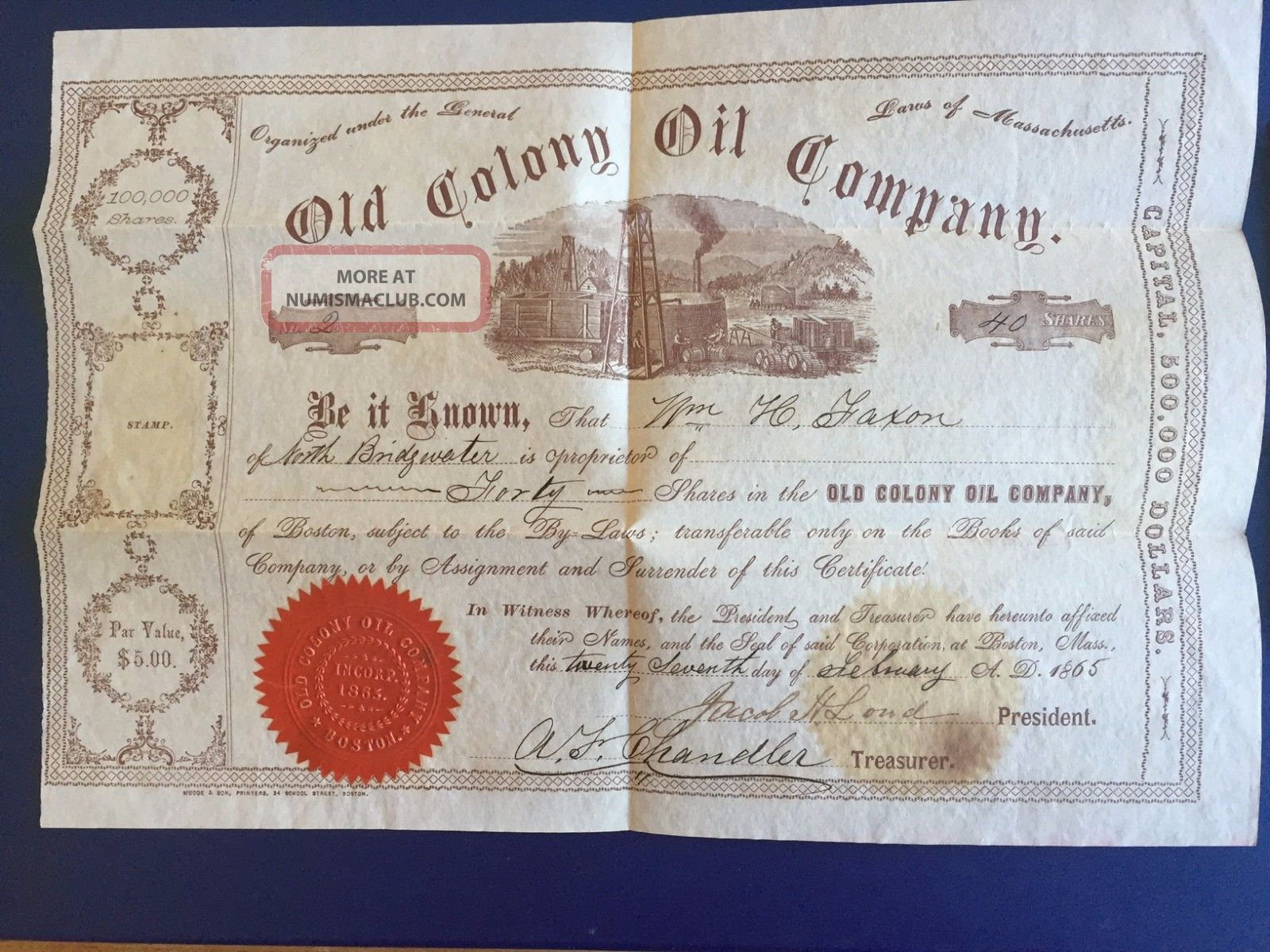 Old Colony Oil Company Stock Certificate - 1865