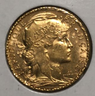 1910 French Gold 20 Franc Coin photo