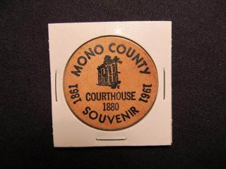 1961 Mono County Wooden Nickel Token - Courthouse 1880 Souvenir Wooden Coin photo