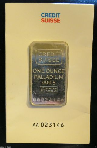 One Ounce Palladium Credit Suisse 999.  5 In Asssay/ With Card photo