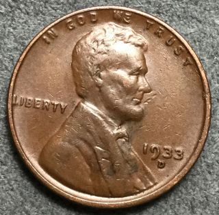 1933 D Lincoln Wheat Cent Penny.  H120 S&h photo