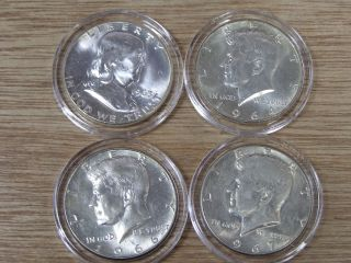 1963 Franklin Half Dollar Uncirculated,  1964 1966 1967 Kennedy Airtite Holders photo