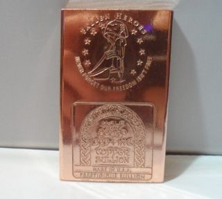 Half Pound Military Fallen Heroes.  999 Fine Copper Bullion Art Bar photo