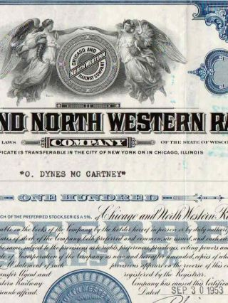 1953 Blue Chicago & North Western Railway Company Stock Certificate Railroad photo