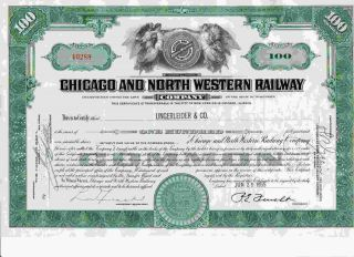 Rare Green Chicago & North Western Railway Company Stock Certificate Railroad photo