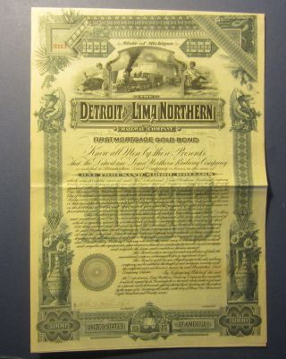 Old 1897 Detroit And Lima Northern - Railway Gold Bond Certificate - Michigan photo