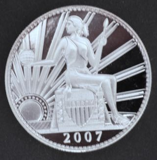 D.  Carr 2007 D Una 100 Ameros - Seated Liberty - 1 Troy Oz.  Silver - Proof Finish photo
