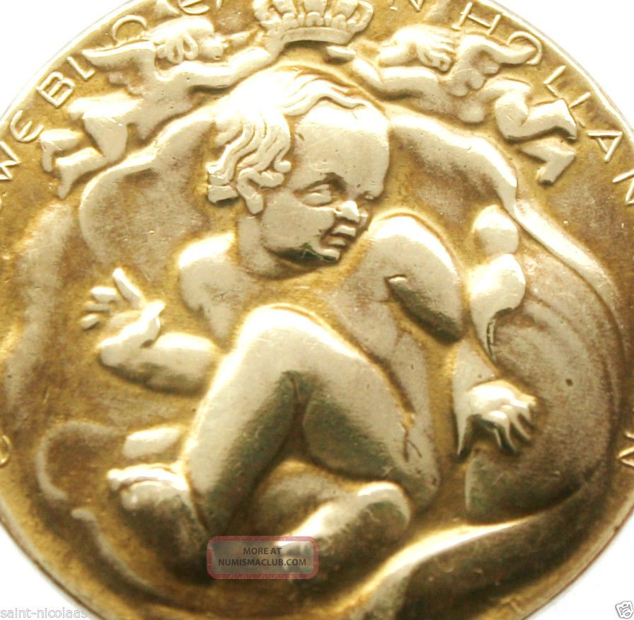 Baby Coming Out Of Flower - Splendid Antique Medal Pendant Exonumia photo